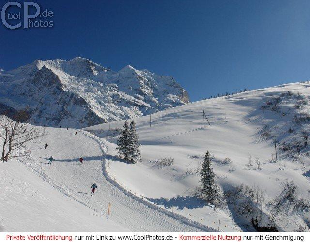 Skihang mit abfahrenden Skifahrern mit einem Berg im Hintergrund und einem Hügel auf der rechten Seite.