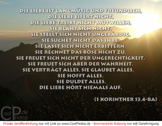CoolPhotos.de - Das Hohelied der Liebe (1 Korinther 13,4-8a)