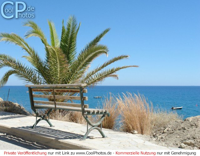 Malerischer Ruheplatz: eine Bank mit Palme und Blick über den Strand auf das Mittelmeer