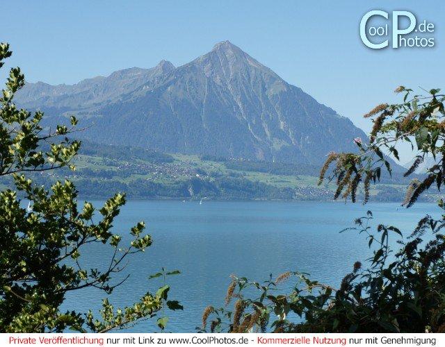Der Thunersee mit dem pyramidenförmigen Berg Niesen im Hintergrund