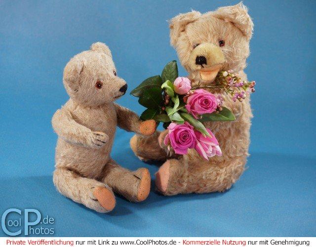 Zwei Teddybären mit einem Blumenstrauß