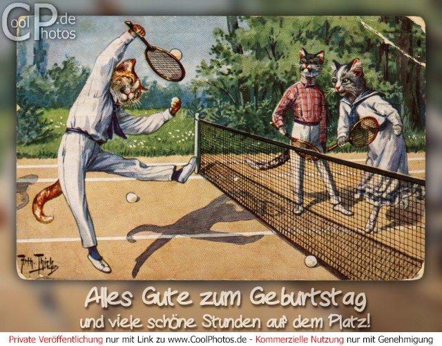 Alles Gute zum Geburtstag und viele schöne Stunden auf dem Platz! Antike Postkarte mit einem Motiv von Arthur Thiele (1860-1936)