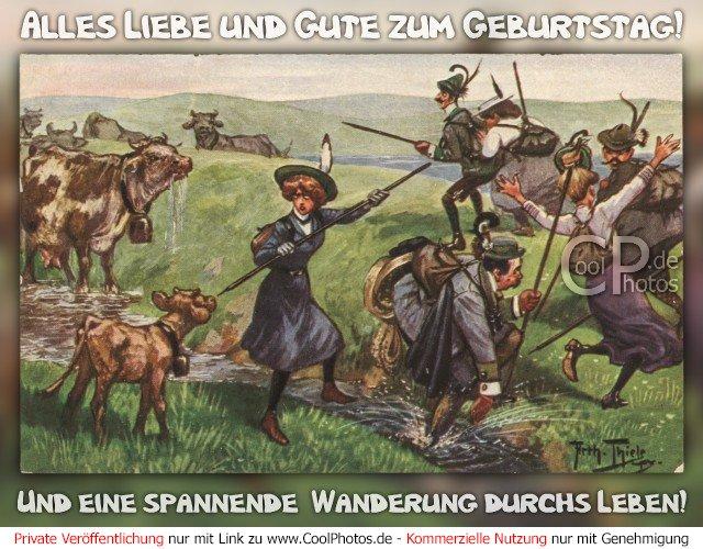 Alles Liebe und Gute zum Geburtstag! Und eine spannende  Wanderung durchs Leben!  Antike Postkarte mit einem Motiv von Arthur Thiele (1860-1936)  Dieses Motiv ist am 17.02.2017 neu in die Kategorie Antike Geburtstagskarten aufgenommen worden.