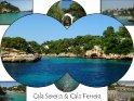 Postkarte mit Bilder aus den nebeneinander liegenden Buchten Cala Serena und Cala Ferrera