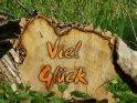 Viel Glück als Schriftzug auf einem Baumstamm