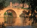 Blick auf die Brücke mit dem Schloss im Hintergrund