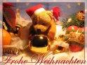 Frohe Weihnachten - Weihnachtskarte mit Weihnachtsteddy    Dieses Kartenmotiv ist seit dem 02. Dezember 2004 in der Kategorie Weihnachtskarten.