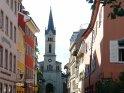 Straße in Konstanz mit einer Kirche am Ende