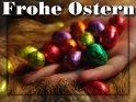 Frohe Ostern - Grusskarte mit Ostereiern auf einer Hand als Motiv    Dieses Motiv befindet sich seit dem 27. März 2007 in der Kategorie Osterkarten.