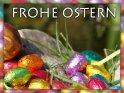Frohe Ostern - Karte mit Ostereiern