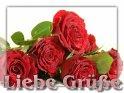 Liebe Grüße  Grußkarte mit einem Stapel Rosen
