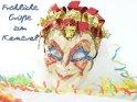 Karnevalsfoto mit einer Venezianischen Maske und dem Schriftzug:  Fröhliche Grüße zum Karneval.