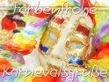 Grußkarte mit einer Venezianische Maske und dem Spruch Farbenfrohe Karnevalsgrüße.
