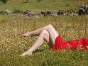Eine Frau im roten Kleid liegt auf einer Wiese.
