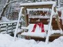 Weihnachtsmütze und Schal auf einer schneebedeckten Schaukel    Dieses Kartenmotiv ist seit dem 23. Dezember 2010 in der Kategorie Weihnachtsbilder.