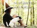 Nicht jede Hexe mag Katzen ...    Dieses Kartenmotiv wurde am 28. April 2012 neu in die Kategorie Walpurgisnacht aufgenommen.