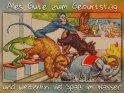Alles Gute zum Geburtstag und weiterhin viel Spaß im Wasser!  Antike Postkarte mit einem Motiv von Arthur Thiele (1860-1936)