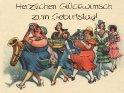 Herzlichen Glückwunsch zum Geburtstag!  Antike Postkarte mit einem Motiv von Arthur Thiele (1860-1936).