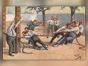 Lustige Zeichnung von Männern beim Seilziehen  Antike Postkarte mit einem Motiv von Arthur Thiele (1860-1936)