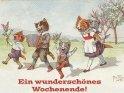 Ein wunderschönes Wochenende!    Antike Postkarte mit einem Motiv von Arthur Thiele (1860-1936)