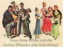 Ganz liebe Grüße und die besten Wünsche zum Geburtstag!    Antike Postkarte mit einem Motiv von Arthur Thiele (1860-1936)
