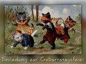 Einladung zur Geburtstagsfeier  Antike Postkarte mit einem Motiv von Arthur Thiele (1860-1936)