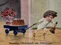 Herzlichen Glückwunsch zum Geburtstage!  Antike Postkarte mit einem Motiv von Arthur Thiele (1860-1936)