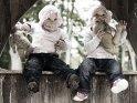 Zwillinge im Kleinkindalter sitzen mit Teddybären in einem Holzfenster