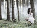 Fee im nebeligen Tannenwald hockt auf einem Baumstamm.