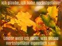Ich glaube, ich habe Herbstgefühle!  Leider weiß ich nicht, was genau  Herbstgefühle eigentlich sind.