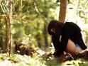 Foto von einer melancholisch im herbstlichen Wald sitzenden Frau.