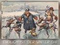 Endlich ist der Winter da!  Antike Postkarte mit einem Motiv von Arthur Thiele (1860-1936)