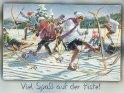 Viel Spaß auf der Piste!  Antike Postkarte mit einem Motiv von Arthur Thiele (1860-1936)