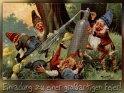 Einladung zu einer großartigen Feier!  Antike Postkarte mit einem Motiv von Arthur Thiele (1860-1936)