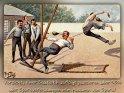 Vorsicht, einer Statistik zufolge passieren über 95%  aller Sportverletzungen beim Ausüben von Sport!    Antike Postkarte mit einem Motiv von Arthur Thiele (1860-1936)