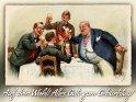 Auf dein Wohl! Alles Gute zum Geburtstag!    Antike Postkarte mit einem Motiv von Arthur Thiele (1860-1936)