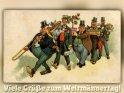 Viele Grüße zum Weltmännertag!  Antike Postkarte mit einem Motiv von Arthur Thiele (1860-1936)