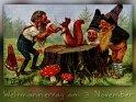 Weltmännertag am 3. November  Antike Postkarte mit einem Motiv von Arthur Thiele (1860-1936)