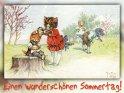 Einen wunderschönen Sommertag!  Antike Postkarte mit einem Motiv von Arthur Thiele (1860-1936)