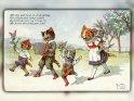 Mit Sing und Sang die Welt entlang  Wir fragen nicht woher, wohin,  Es treibt uns fort, von Ort zu Ort  Mit freiem und fröhlichem Sinn.  Antike Postkarte mit einem Motiv von Arthur Thiele (1860-1936)