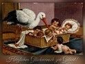 Herzlichen Glückwunsch zur Geburt!  Antike Postkarte mit einem Motiv von Arthur Thiele (1860-1936)