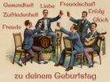 Gesundheit, Liebe, Freundschaft, Zufriedenheit, Erfolg, Glück und Freude zu deinem Geburtstag    Antike Postkarte mit einem Motiv von Arthur Thiele (1860-1936)