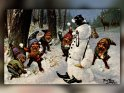 Zwerge in einer Schneeballschlacht mit einem Schneemann  Antike Postkarte mit einem Motiv von Arthur Thiele (1860-1936)