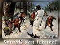 Genieß den Schnee!Antike Postkarte mit einem Motiv von Arthur Thiele (1860-1936)