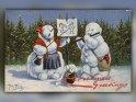 Christmas Greetings  Antike Postkarte mit einem Motiv von Arthur Thiele (1860-1936)