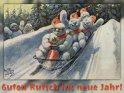 Guten Rutsch ins neue Jahr!  Antike Postkarte mit einem Motiv von Arthur Thiele (1860-1936)