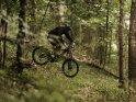 Downhill-Mountainbiker mit einem kleinen Sprung im Wald