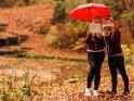 Zwei Freundinnen stehen im Herbst unter einem Regenschirm und lesen in einem Bilderbuch.