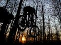 Mountainbiker im Sprung mit der untergehenden Sonne im Hintergrund