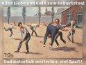 Alles Liebe und Gute zum Geburtstag! Und natürlich weiterhin  viel Spaß!    Antike Postkarte mit einem Motiv von Arthur Thiele (1860-1936)    Aus der Kategorie Geburtstagskarten für Sportler